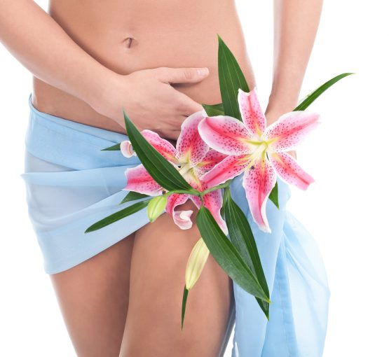 Intimate part of a woman's body covering with blue textile and flower on her hip